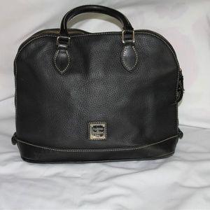 D&B Zip Solid 2-Way Black Leather Satchel (Fair)